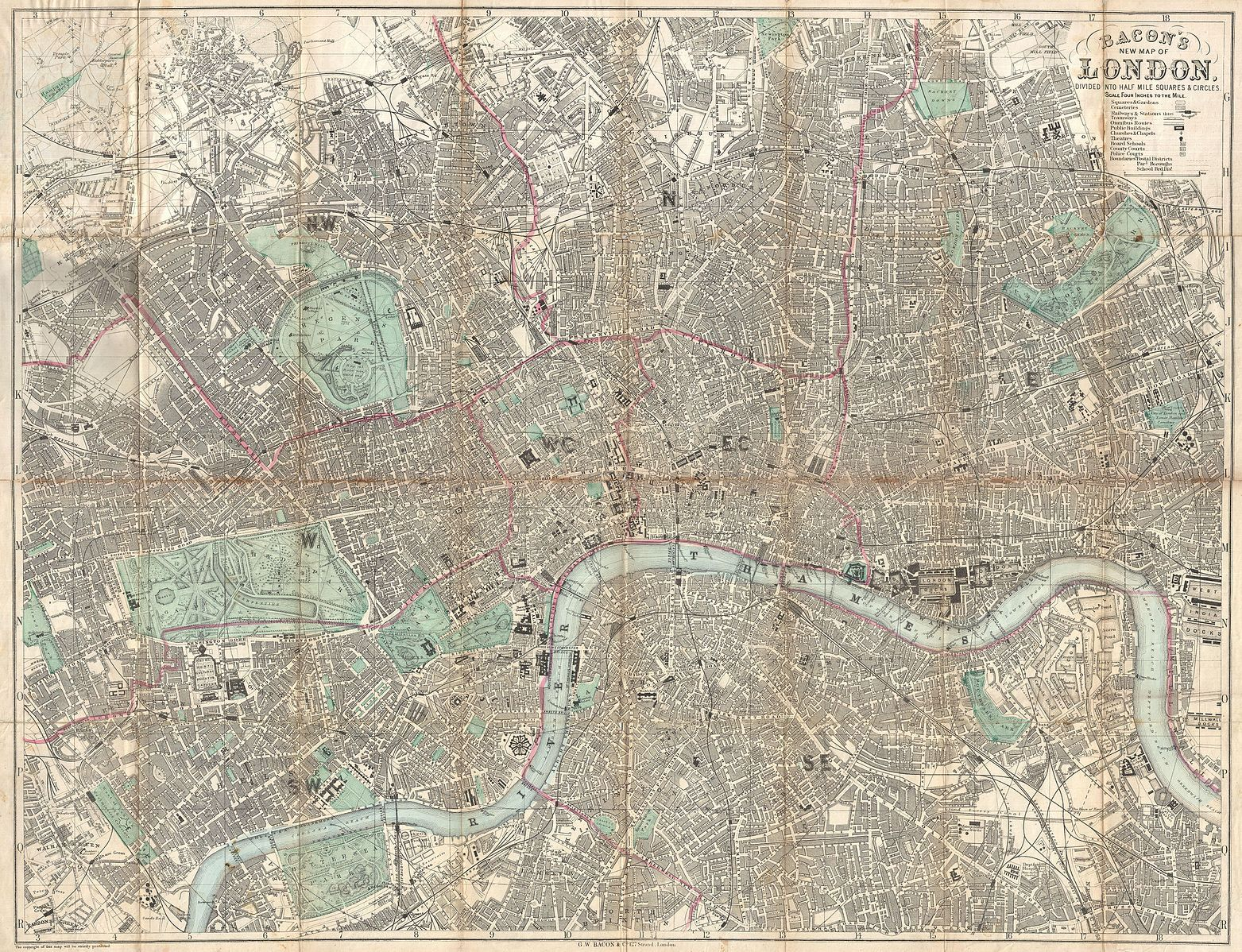 1890 Bacon Traveler s Pocket Map of London England