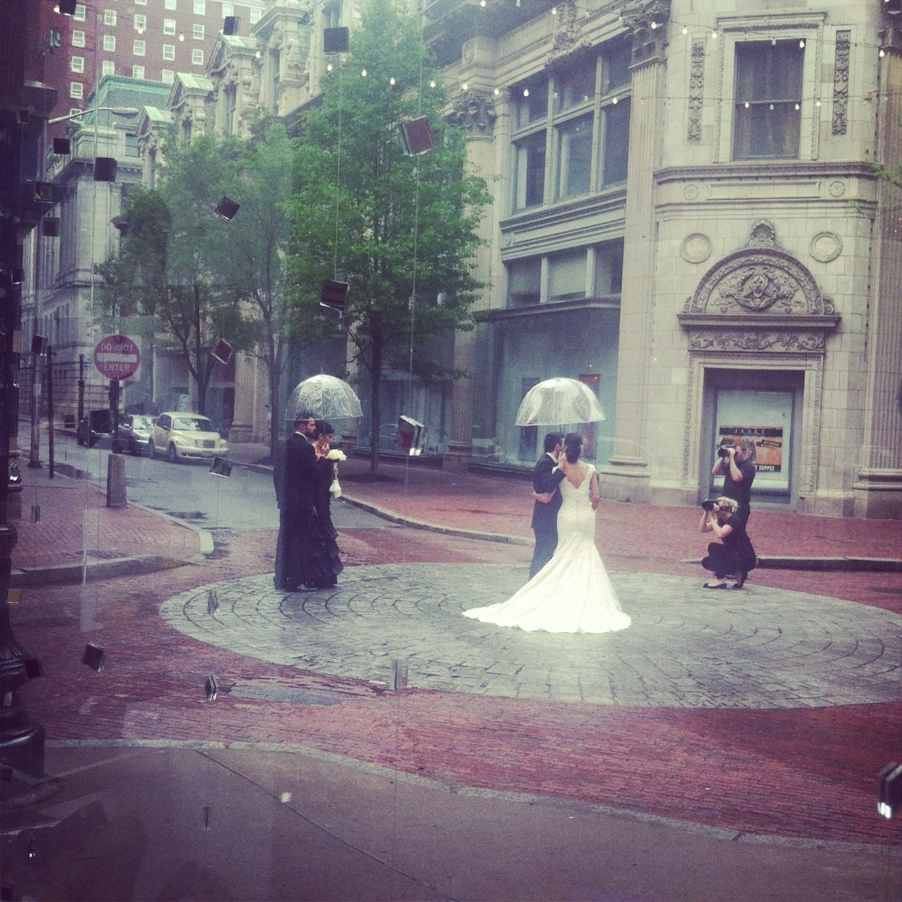 Providence is beautiful even in the rain. Westminster Street wedding shoot.