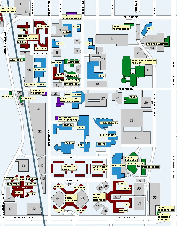 Central Michigan Campus Map