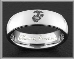USMC Tungsten Wedding Rings with Marine's Eagle, Globe and Anchor Symbol with Free Inside Engraving.  Sizes 5, 5.5, 6, 6.5, 7, 7.5, 8, 8.5, 9, 9.5, 10, 10.5, 11, 11.5, 12, 12.5, 13, 13.5, 14, 14.5, 15 sunsetjewelers.com