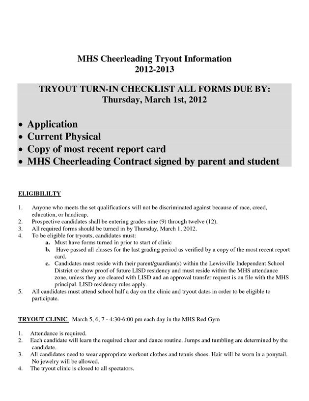 Cheer Tryout Packet  Final  Cheer    Cheer