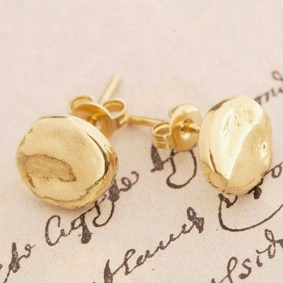 everyday bridal maia simple round ball sterling earrings gold post stud circle silver