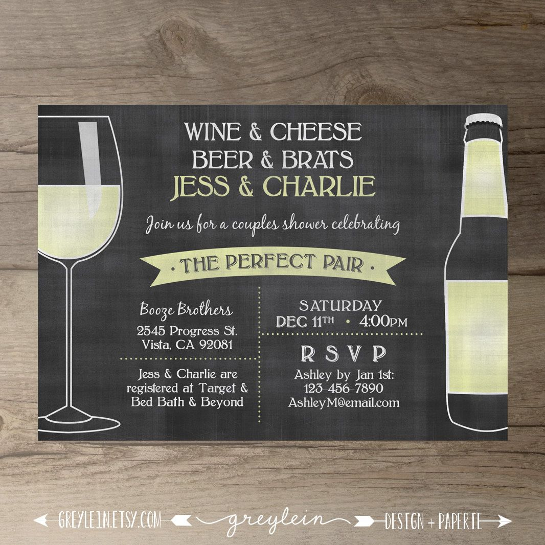 Perfect Pair Invitations  Chalkboard Invites  Engagement Party