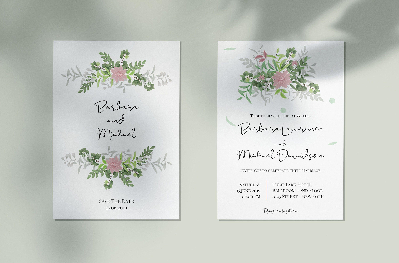 Watercolor Boho Greenery Wedding Invitation Double Sided