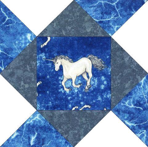Unicorn Lightning Blue Pre-cut Quilt Blocks Kit