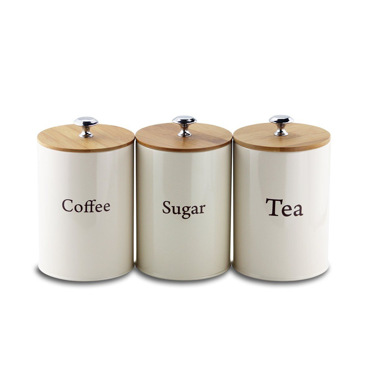 Metal Tea Coffee and Sugar Storage Set by Svebake Amazon
