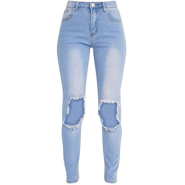 5d72905b718 Kim Light Wash Open Knee Rip Slim Jean ❤ liked on Polyvore featuring jeans, blue  jeans, light wash ripped jeans, slim fit jeans, destructed jeans and slim  ...