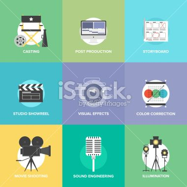 Flat Icons Set Of Professional Film Production Movie Shooting Flat Icons Set Flat Icon Icon Set