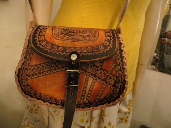 Black & Brown Leather Mexican Purse by BlackPearlWorld on Etsy, $50.00
