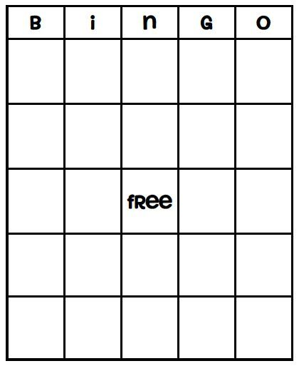 Blank Bingo Card Template  Rec Activities    Bingo Card