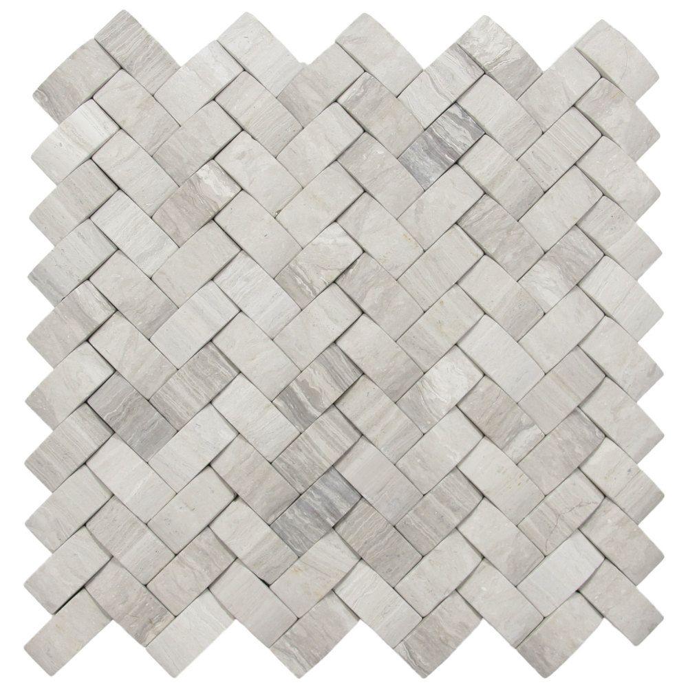 How To Basket Weave Tile : D light grey basket weave stone tile tiles