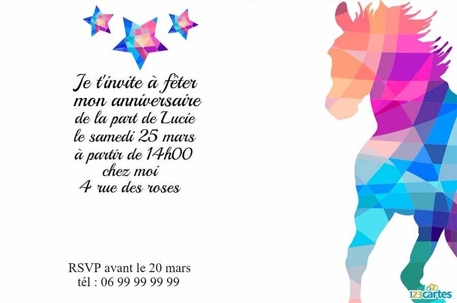 Hervorragend Invitation anniversaire cheval au couleurs de diamants à  DA08