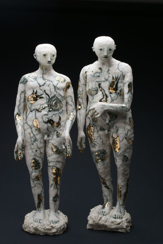 'Singing Boys' Height 55 cm. Incised Porcelain and Gold Lustre...clare curneen