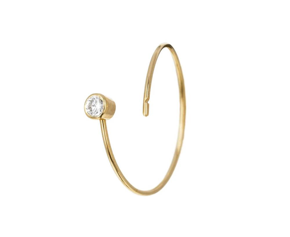 Large Diamond Single Hoop Earring Hoop Earrings Single Earring Diamond