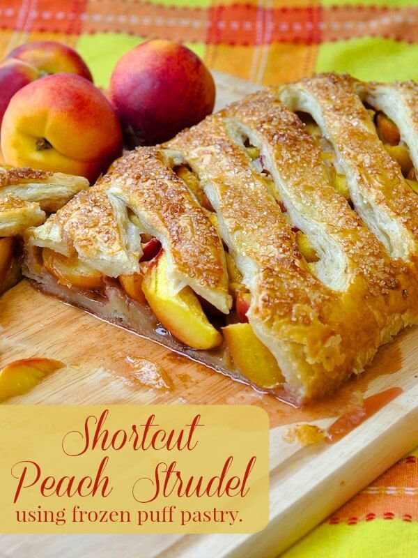 Shortcut Summer Peach Strudel - using frozen puff pastry!