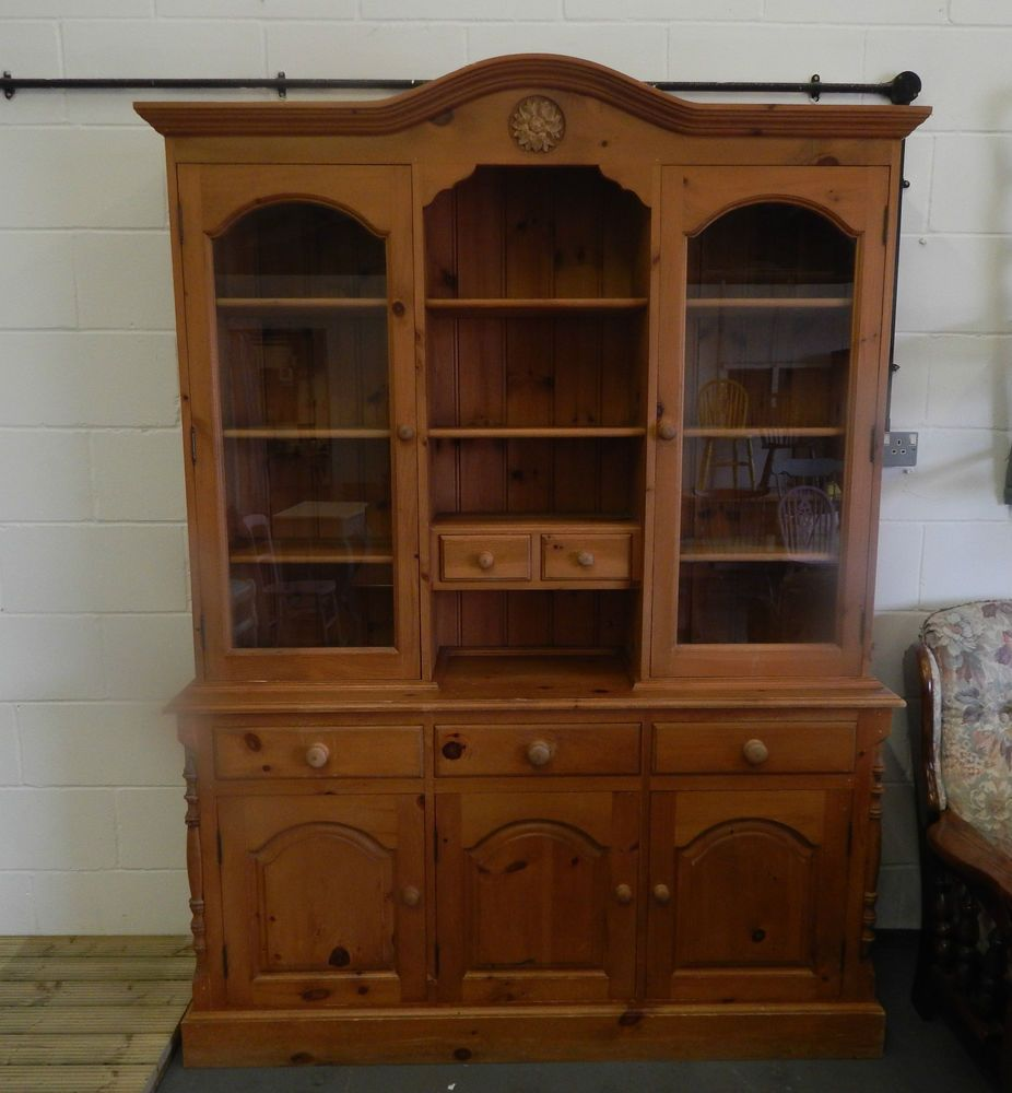 Beautiful Solid Pine Triple Welsh Dresser Carved Display