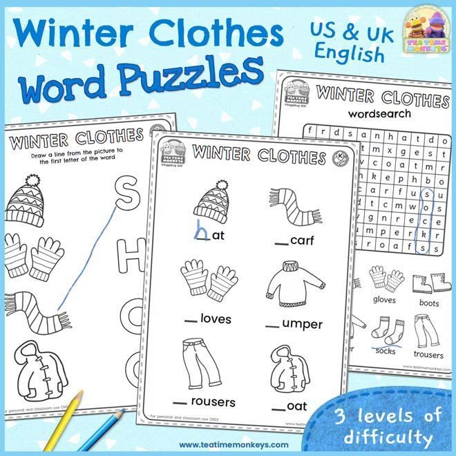 Winter Clothes Word Puzzles  Free Printable  Tea Time Monkeys Use these winter clothes worksheets and word puzzles to practise vocabulary for dressing for the cold weathe...