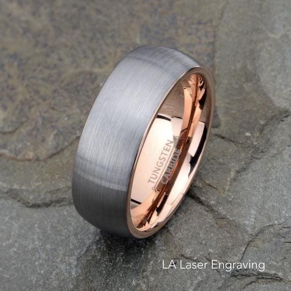 Tungsten Wedding Band Brushed Domed Rose Tungsten Ring 8mm