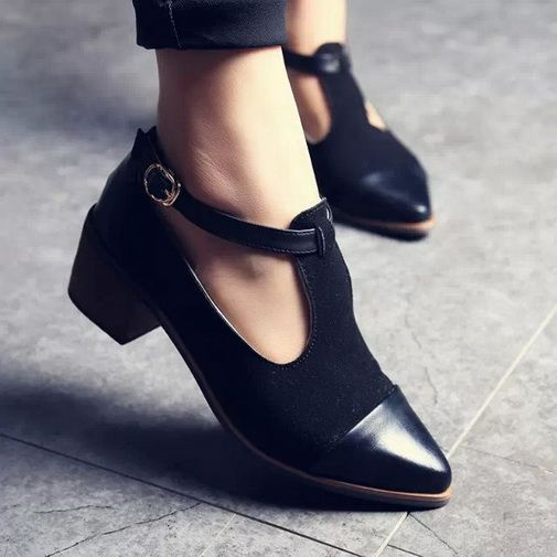 a473621977d98 Trendy Splice Pointed Toes Cuban Low Heels Ankle Strap Platform PUMPS Shoes