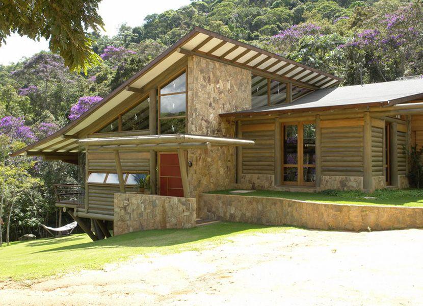 Fachada casa de campo p direito alto com vidro pesquisa for Fachada casa campo