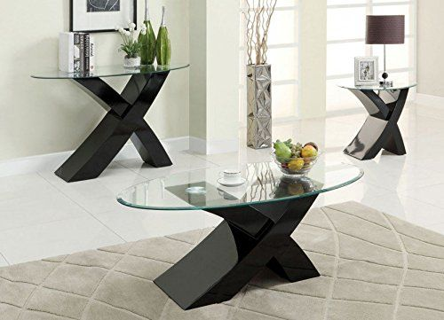 "Designer BLACK ""X"" MILANO High Gloss & Glass Coffee Table Modern"