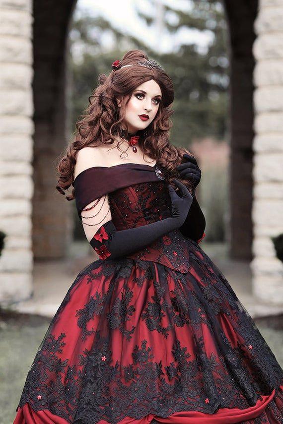 Gothic Belle rot/schwarz Spitze Fantasy-Kleid! Hochzeit