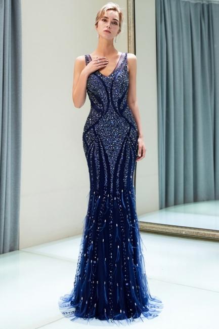Navy Blau Abendkleider Lang Günstig Luxus Abendmoden ...