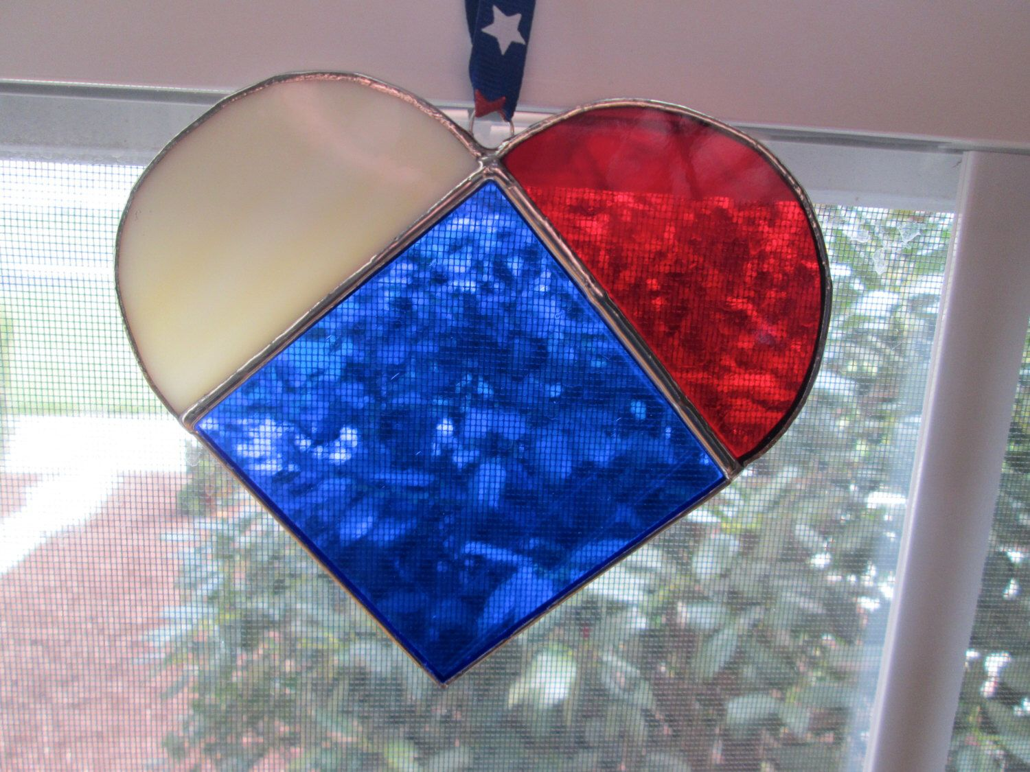 8c1b381449ce Stained Glass Patriotic Heart Sun Catcher Red White and Blue by  StainedGlassCloset on Etsy https
