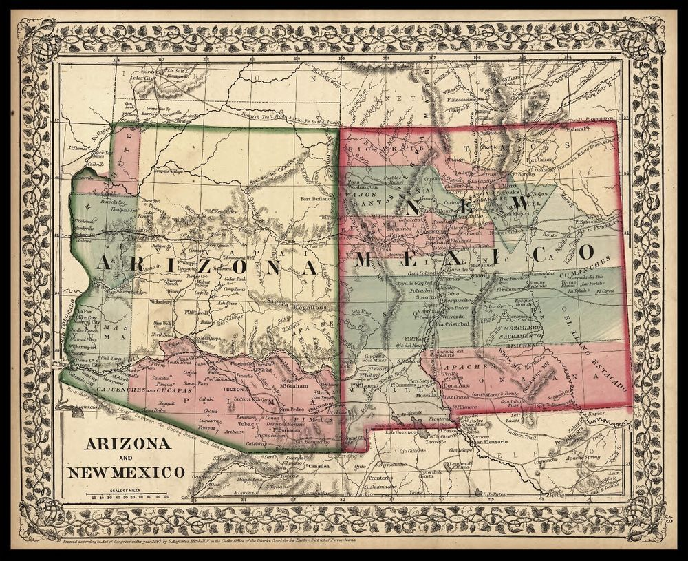 "1867 MAP ARIZONA & NEW MEXICO 20""x16"" Print Antique History"