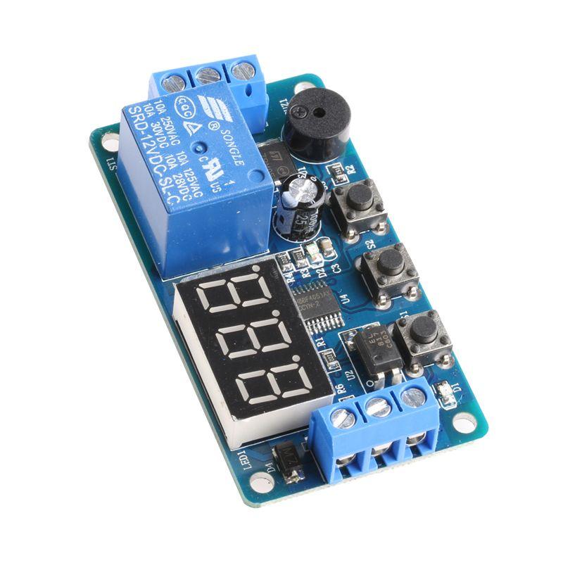 12 볼트 모듈 지연 타이머 릴레이 제어 프로그램 스위치 자동차 부저 LED 디스플레이