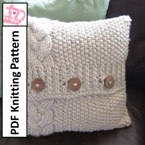 Free Pattern For Cable Knit Pillow Cover: PDF KNITTING PATTERN   Braided Cable super chunky hand knit 16 x    ,