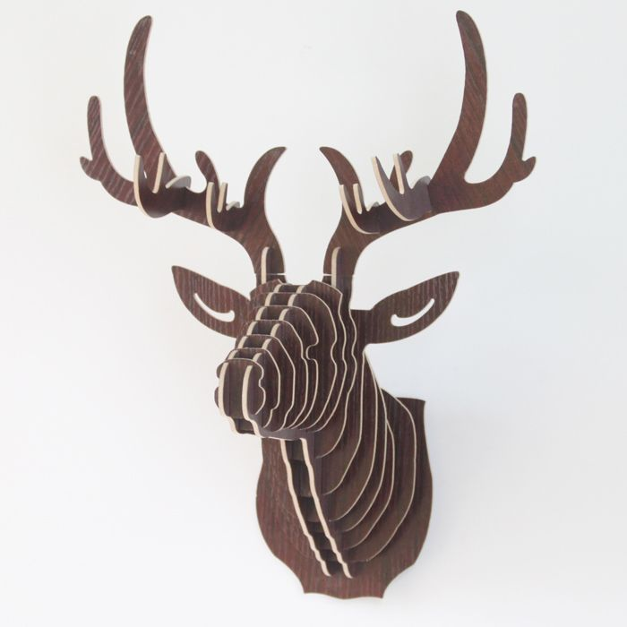 Mfd Coffee Wooden Puzzle Deer Head Antler Wall Decoration Wood Deer Head Deer Head Wall Decor Deer Heads Wall