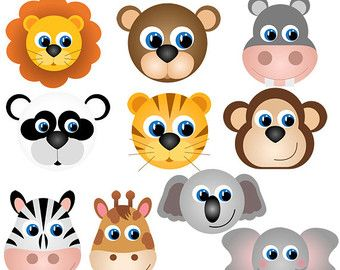 Animal Faces Clipart Clip Art Zoo Jungle Farm Barnyard Forest Woodland Animal Clipart Clip Art Commercial And Personal Use Animal Faces Clip Art Animals Wild
