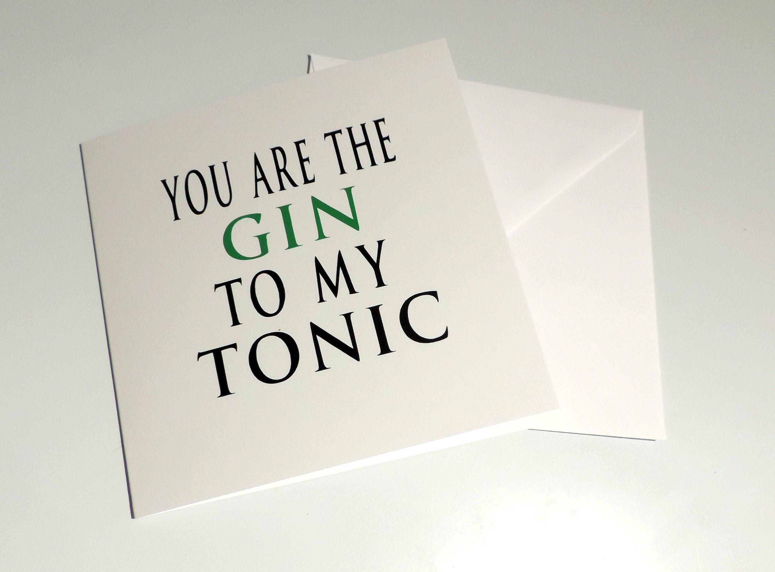 Gin Card Gin Valentines Card Gin Card For Her Gin And Tonic Card
