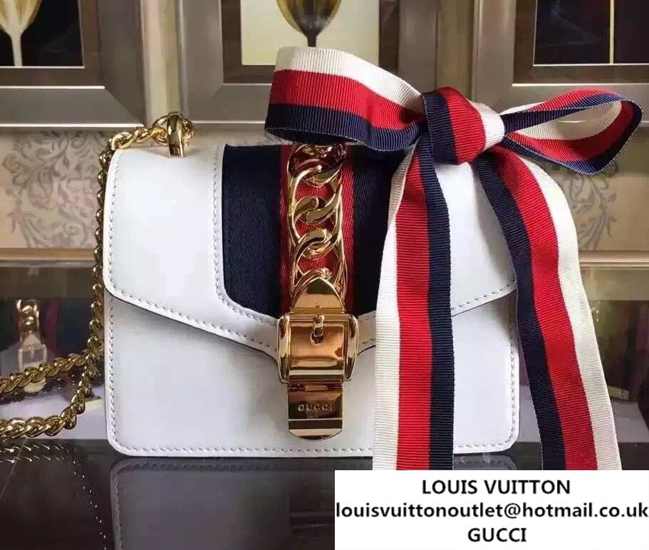 23d3f01799c Gucci Sylvie Chain Leather Mini Shoulder Bag 431666 Off-white 2016 ...