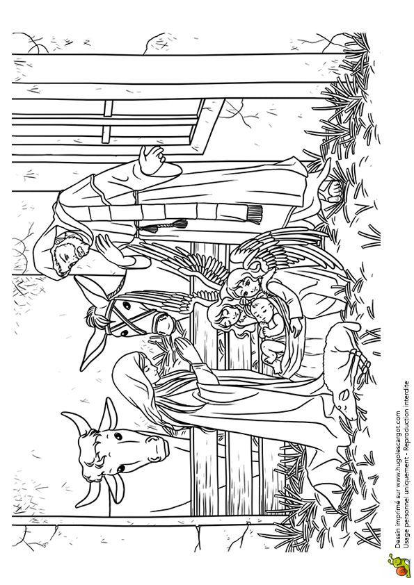 Coloriages vacances de noel la creche | L\'histoire de la nativité ...