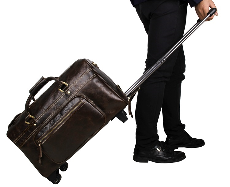 205.57$  Know more  - Genuine Cow Leather Travel Trolley Bag Men's Tote Designs Luggage Bag 7317C