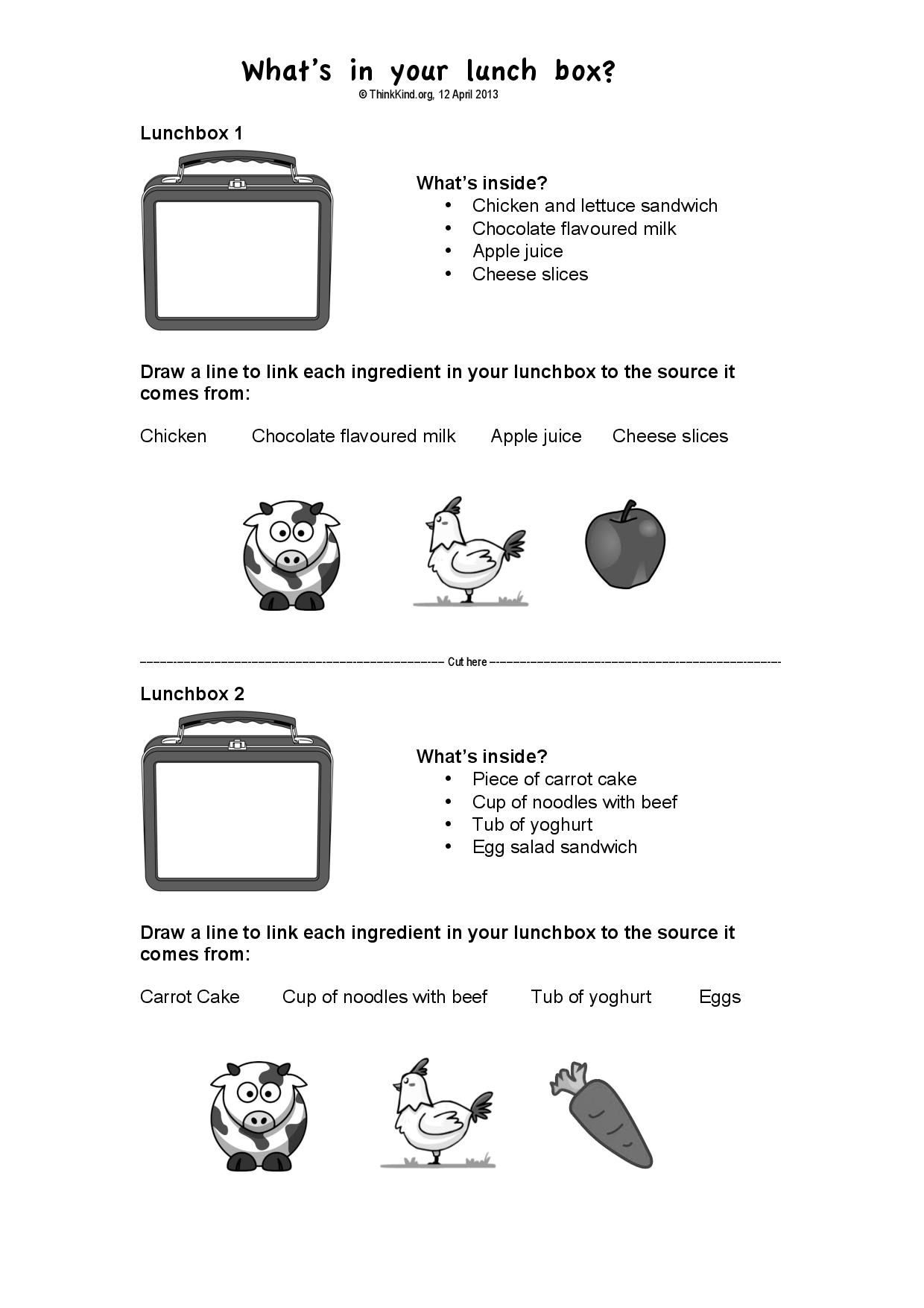 """1 2 """"What s in your lunchbox """" Paddock to Plate Worksheet NSW Early"""