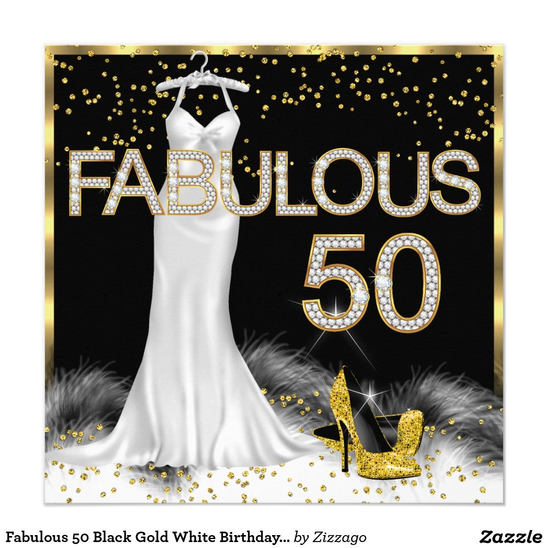 Fabulous 50 Black Gold White Birthday Party Card Female Birthday