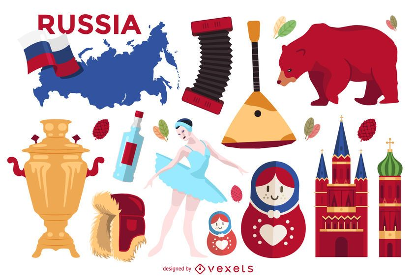 Illustrated set of typical Russian elements featuring the Russia