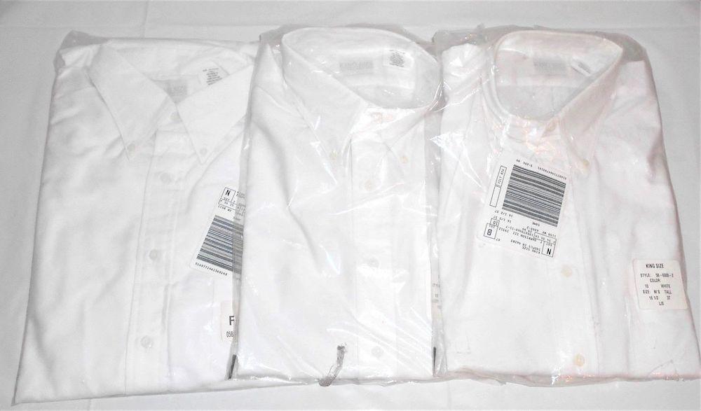 King Size 3 New White Long Sleeve Button Down Shirts Men's Size 16.5 Tall     #KingSize #ButtonFrontButtonDownCollar
