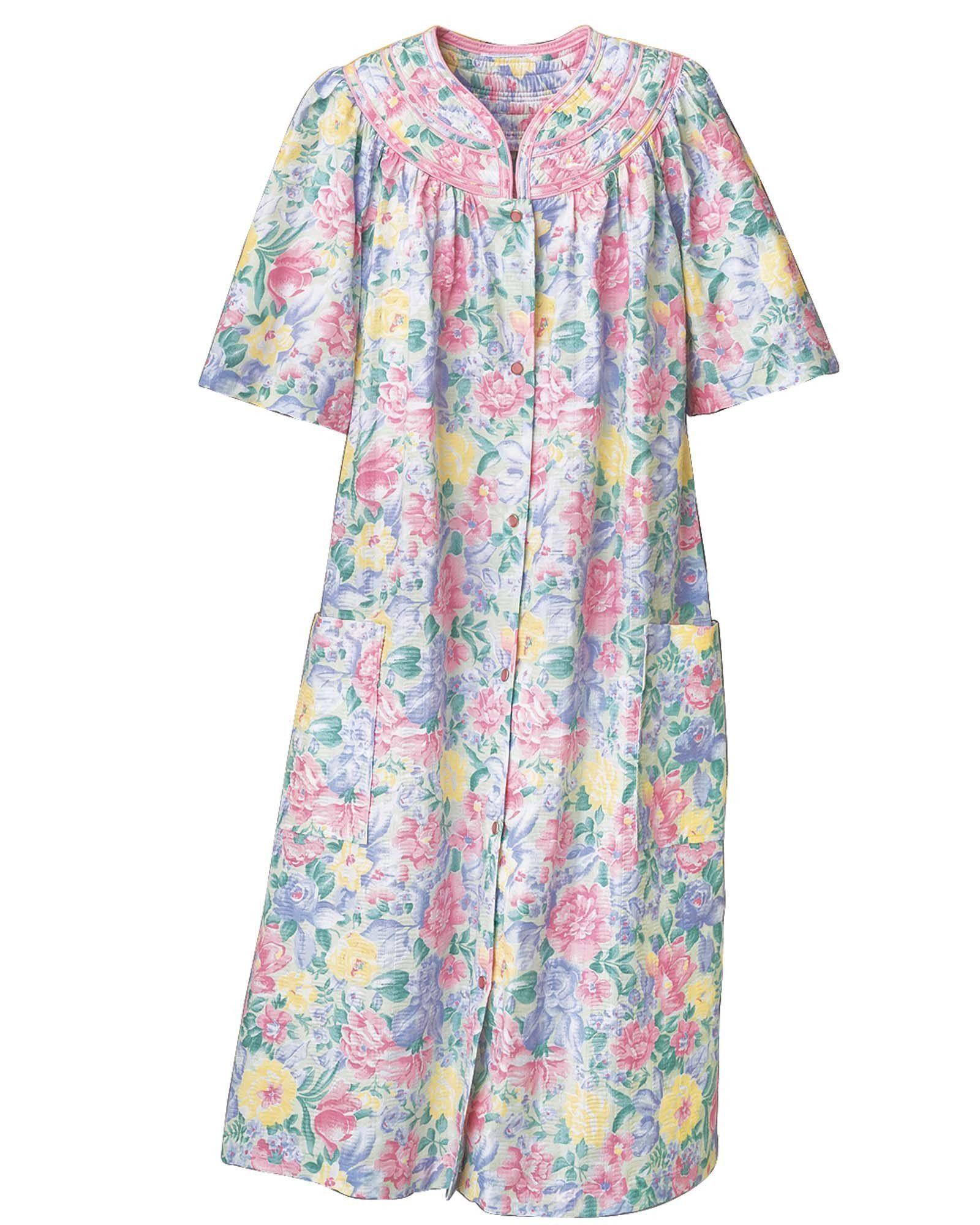 Trapunto Yoke House Coat Night Dress For Women Sleepwear Women