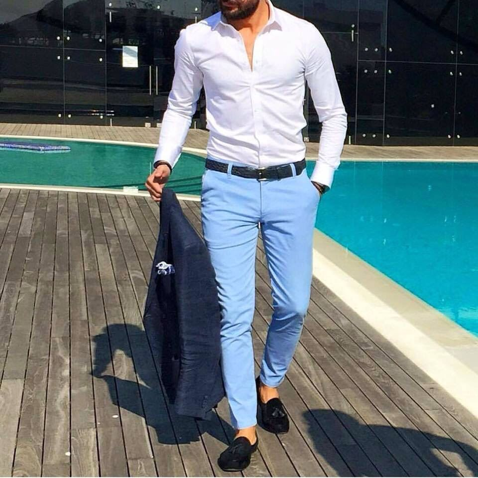 Wedding White Or Blue Shirt: Faded Blue Chinos & White Plain Shirt// A Combination For