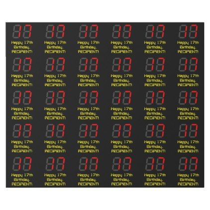 17th Birthday: Red Digital Clock Style 17 + Name Wrapping Paper | Zazzle.com #17thbirthday