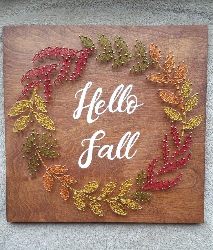 Fall Wreath String Art, Hello Fall Decor #hellofall