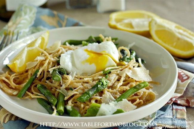 Pasta w/Poached Egg, Asparagus, & Lemon {Wanna Be A Country Cleaver}