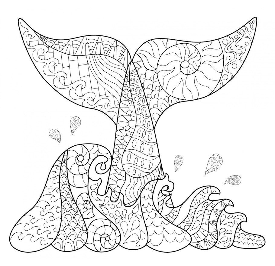 Fish Tale Doodle Doodle Is Art Whale Coloring Pages Coloring Pages Anti Stress Coloring Book