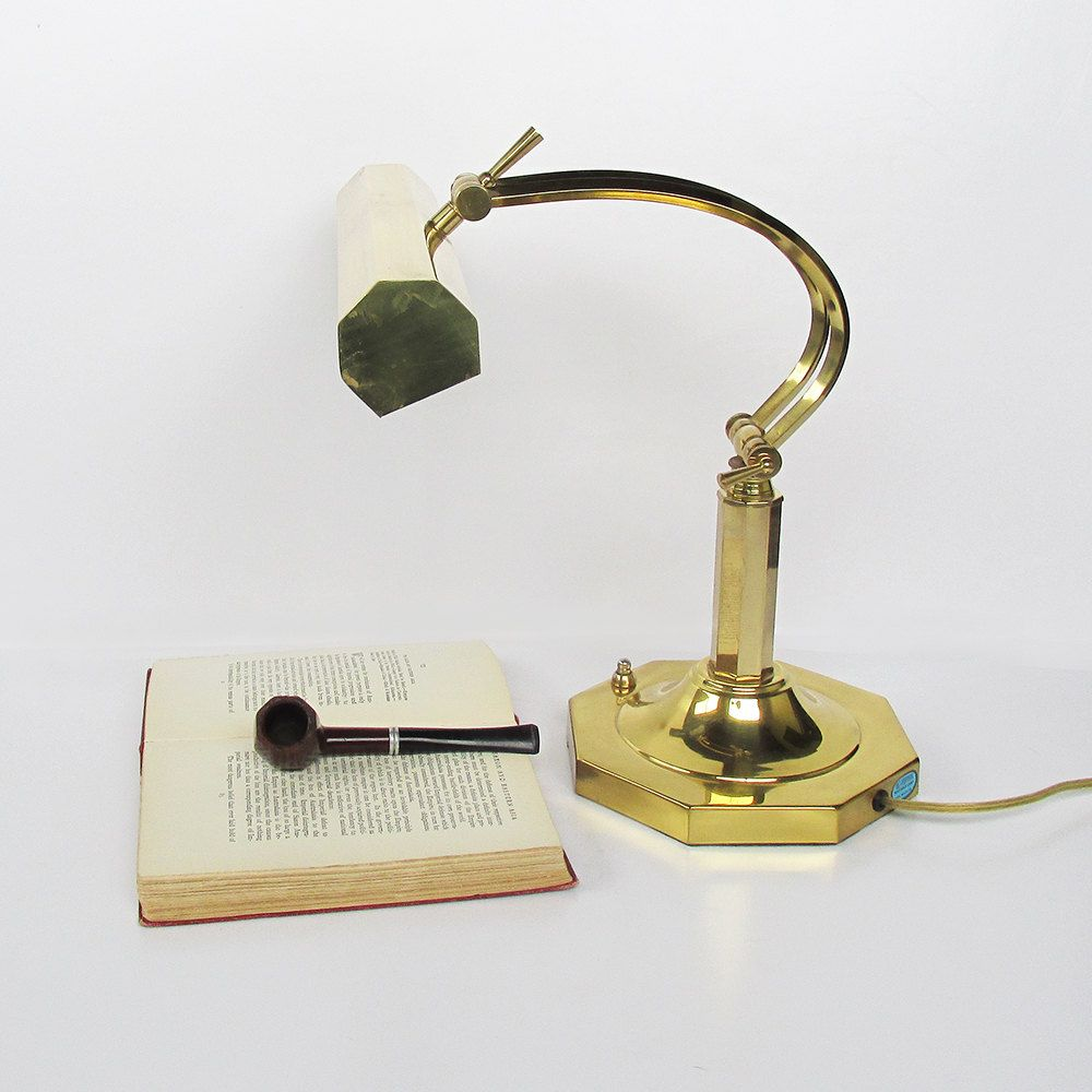 Vintage Brass Bankers Lamp - Piano Light - Desk Light - Library ... for Bankers Lamp Library  555kxo
