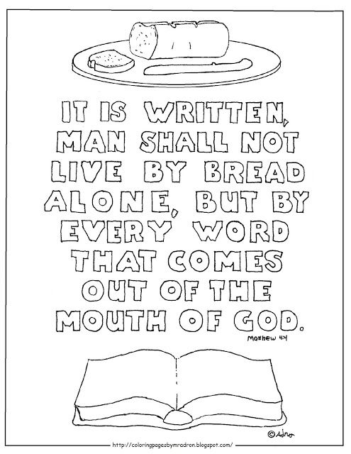 Coloring Pages For Kids By Mr Adron Man Shall Not Live Bread Alone