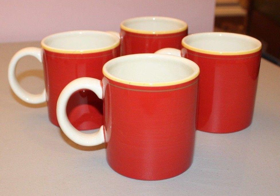 Royal Doulton Chanticlair Red Yellow Coffee Tea Mugs Set 4